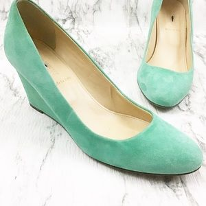 J.Crew Martina MintGreen Suede Wedge Made in Italy